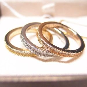 Pretty Girl Swag Jewelry Jewelry - <LAST><Sz 6>14K Gold Filled Pave Ring Set